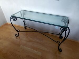 BUFFET SERVER OR SIDE TABLE, WROUGHT IRON WITH GLASS TOP
