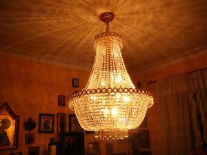 lustre-chandelier plaqué or, VRAI cristal Swarowski style Versai