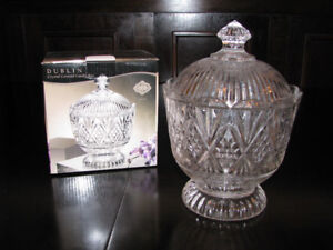 Dublin Crystal Covered Candy Dish, Brand New in Box