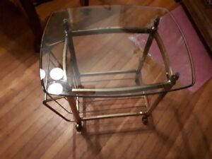 vintage brass side/end table with glass top and magazine rack