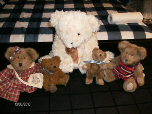 "Four Boyd's collectable bears and one larger ""LUCIA"" bear, all f"