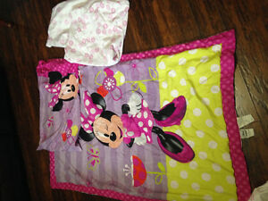 $40.00 Minnie Mouse toddler or crib bedding with extras