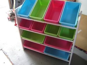Toy Bin Organizer- Kids Childrens Storage shelves with bins