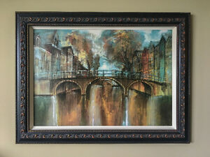 Wall Art / Painting - European City River Scene By Night