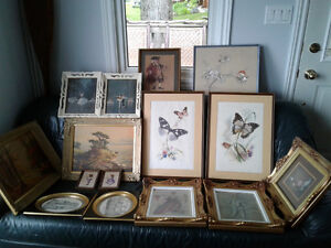 Framed Art -15 Paintings Sketches Prints frames alone worth more