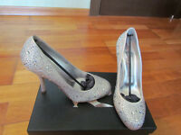 "BRAND NEW! Gina ""Janell"" Silver Shoes with Swarovski Diamante"