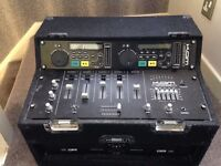 KAM CD DJ decks with mixer, amp and speakers
