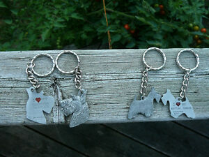 I Love my Scottish Terrier pewter keychain, Scottie key ring fob
