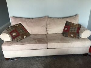 Microfiber beige couch and loveseat Strathcona County Edmonton Area image 2