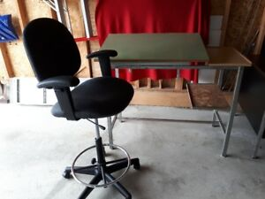 Drafting table with 5 year old pneumatic drafting chair