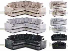 *14-DAY MONEY BACK GUARANTEE* Elaine 5 Seater Luxury Crushed Velvet Corner Sofa or 3 and 2 SAME DAY!