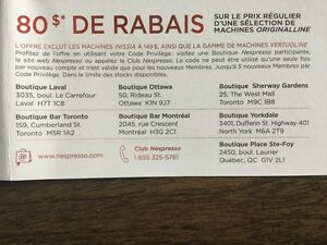 Rabais 80$ certaine machine NESPRESSO selected machine rebate