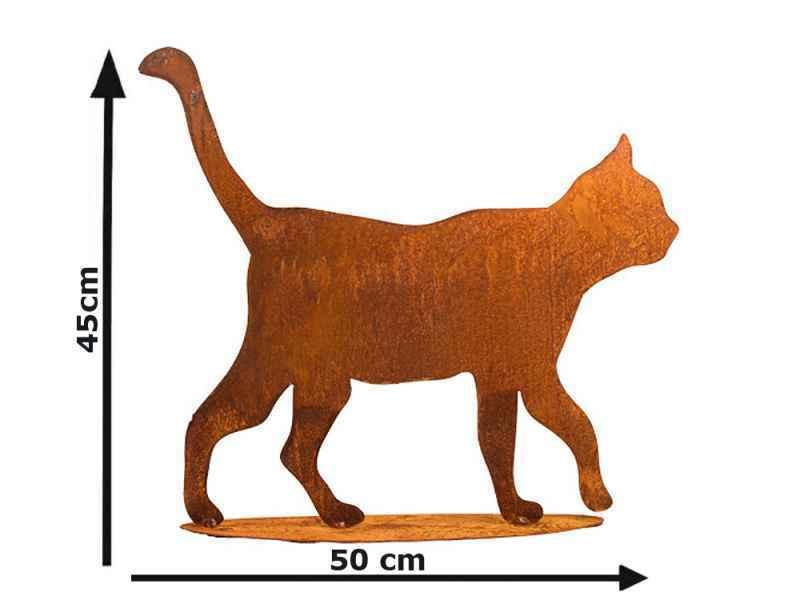 Dekofigur Katze gehend mit Platte im Rost Design, Rostfigur für den Garten,  ...