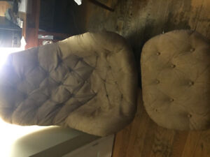 Retro Chair and Foot Stool with teak base