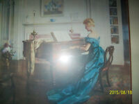 large mahogany framed print- woman in victorian time w/piano
