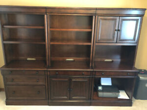 Book shelf wall unit with filing cabinet, drawer and cupboard