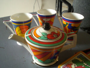 Tea Pot --Clarice Cliff inspired teapot, cups, coasters Stratford Kitchener Area image 4