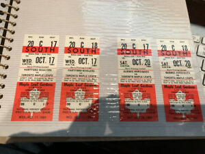 2 PAIRS OF UNUSED TORONTO MAPLE LEAFS GARDENS OCT 1984 TICKETS