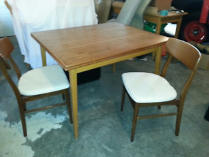 Teak table and 2 chairs
