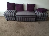 3 brand new grey and purple footstools