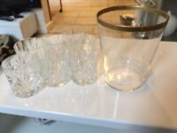 8 cut glass tumbler glasses and ice bucket