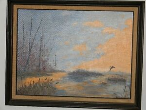 MARSH SCENE  ACRYLIC OIL PAINTING BY ADA CHAMPION