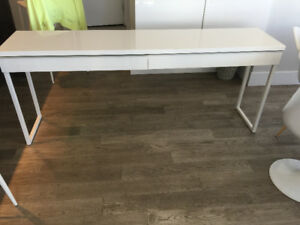 White Ikea two drawer desk