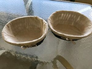 Burlap Lined Whicker Baskets