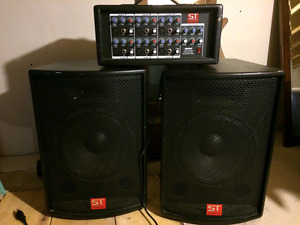 ST  s60 150 watt 6-channel powered mixer and speakers for sale