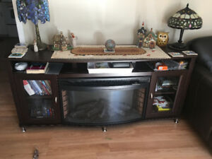 Entertainment unit with built in fireplace