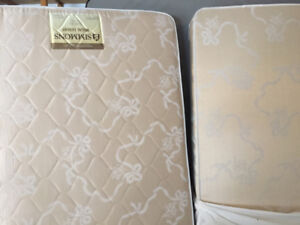 twin mattress, box spring and frame