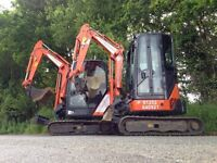 Mini digger / Excavator Hire with Operator / Driver