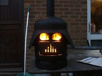 Darth Vader Log Wood Burner with Steel Plate and Pipe Base