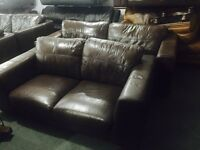 As new brown leather 3 and 2 sofa set