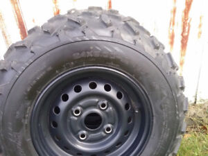New front and back tires & rims for Honda atv