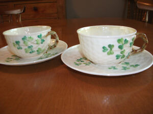 BELLEEK CUPS AND SAUCERS
