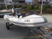 Avon Rib Boat 3.5m 30hp Mariner outboard engine on trailer