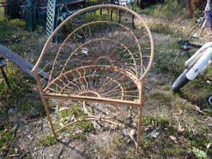 Rustic metal semi circle chair