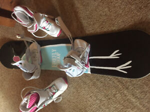 Snow board, boots and bindings for a young girl