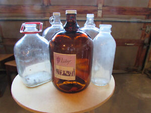 5 Antique 70s Glass Jugs and Milk Bottle