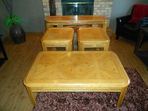 4 Piece Coffee Table Set - Light Brown/Blonde