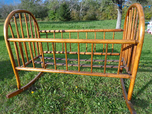 For Sale: Antique Maple (?) Bentwood Rocking Baby Cradle