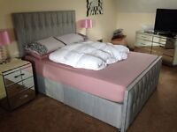 King Size bed + memory mattress, Exc Cond.