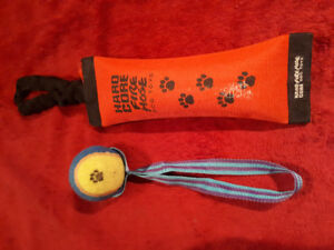 Used good condition dog hydrant hose chew toy & ball