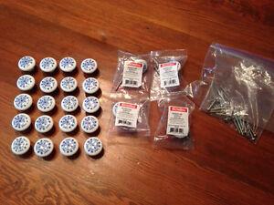 Poignées boutons d'armoires 24X porcelaine quincaillerie