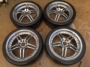 "17"" chrome deep dish rims with tires 215/40/R17"