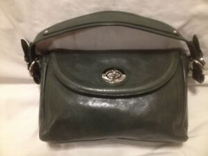 Danier Dark Green Genuine Leather Hand Bag/Shouder Bag