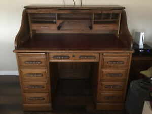 72688fb21546 Antique oak roll top desk and chair