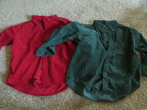 2 boys Corduroy collared, button down long sleeve shirts