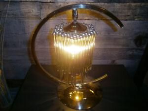 LAMPE EN LAITON PAMPILLES DE VERRE VINTAGE